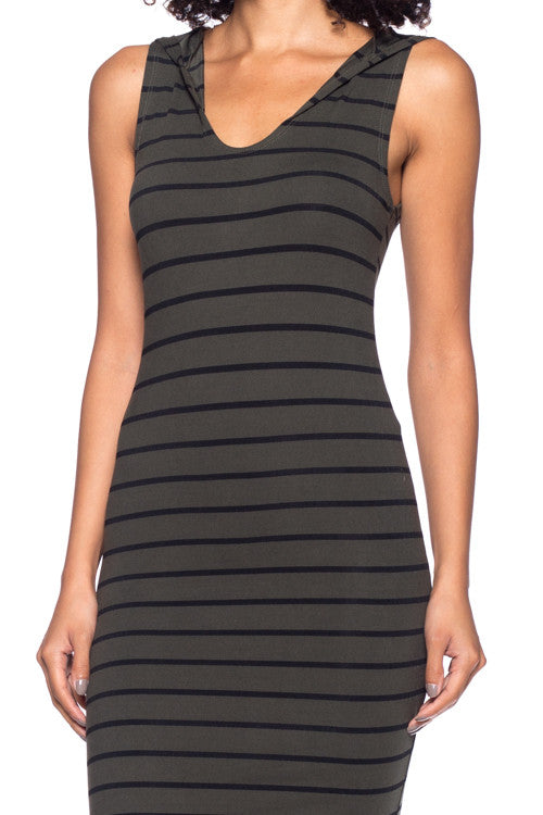 Stripe Hooded Bodycon Dress - BD1987 - Capella Apparel