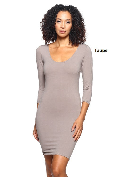 3/4 Scoop Back Dress - BD1818 - Capella Apparel