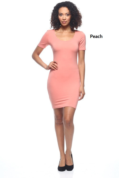 Scoop Neck Bodycon Dress - BD1695 - Capella Apparel