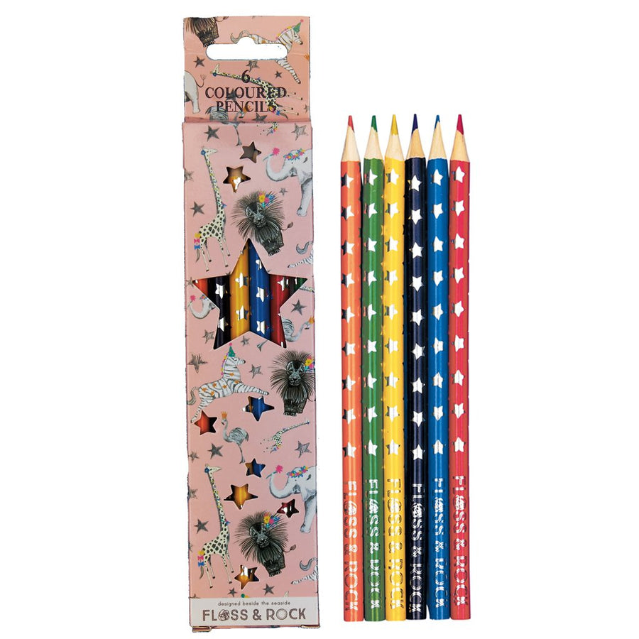 Coloured Pencils Pack 6 Party Animals