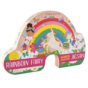 "Rainbow Fairy 80pc ""Rainbow"" Shaped Jigsaw with Shaped Box"