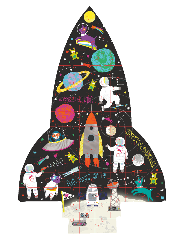 "80 Piece ""Rocket"" Shaped Jigsaw with Shaped Box - Space"