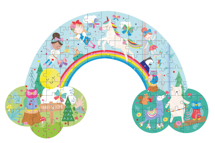 "80 Piece ""Rainbow"" Shaped Jigsaw with Shaped Box - Rainbow Fairy"