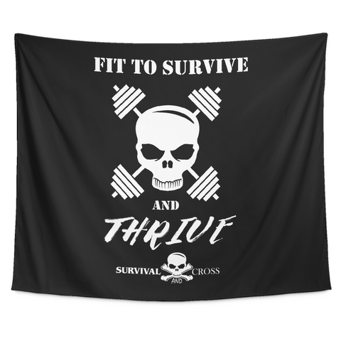 Motivational Gym Tapestry - Fit to Survive