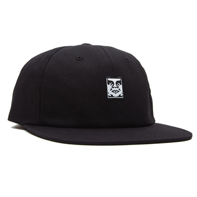 OBEY ICON FACE 6 PANEL STRAPBACK CAP // BLACK