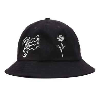 OBEY PRINTED 6 PANEL BUCKET HAT // BLACK