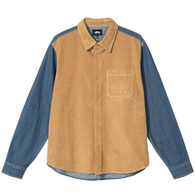 STÜSSY CORD DENIM MIX SHIRT // KHAKI
