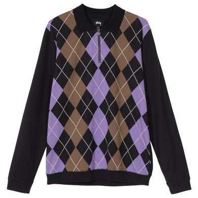 STÜSSY ARGYLE ZIP L/S POLO // BLACK