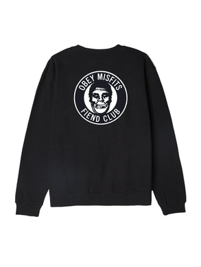 OBEY X MISFITS FIEND CLUB CREWNECK // BLACK