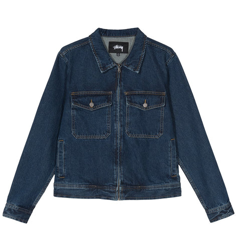 STÜSSY DENIM GARAGE JACKET // DARK BLUE
