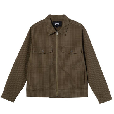 STÜSSY CHECK GARAGE JACKET // OLIVE