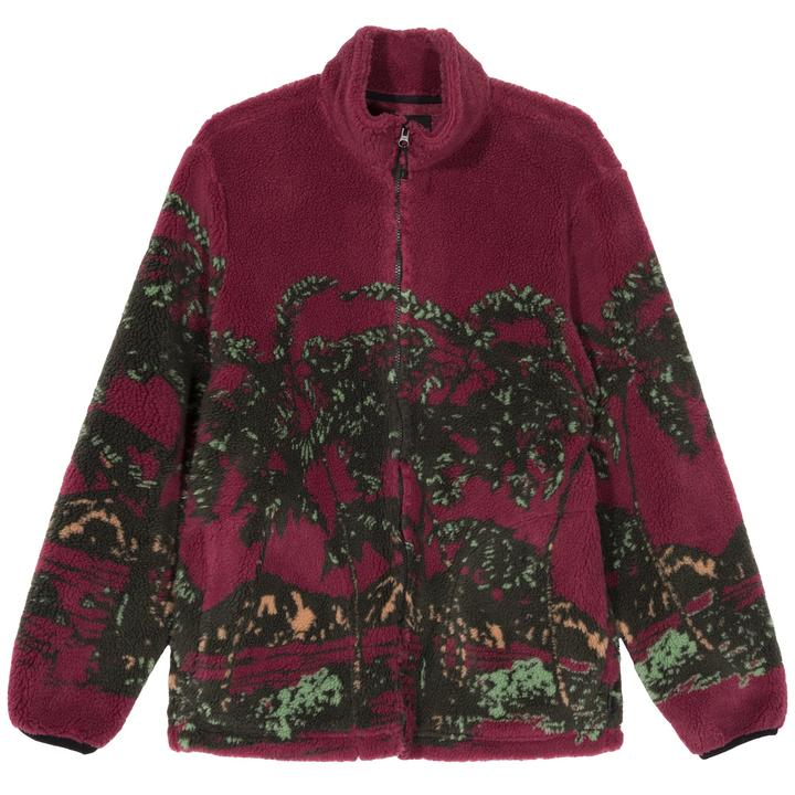 STÜSSY HAWAIIAN JACQUARD MOCK // BERRY