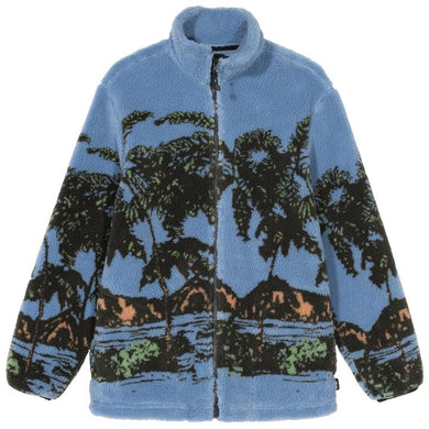STÜSSY HAWAIIAN JACQUARD MOCK // BLUE