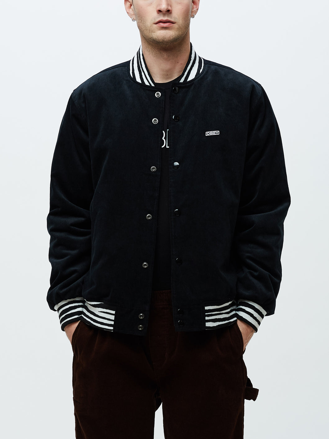 OBEY SCOTTY VARSITY JACKET // BLACK