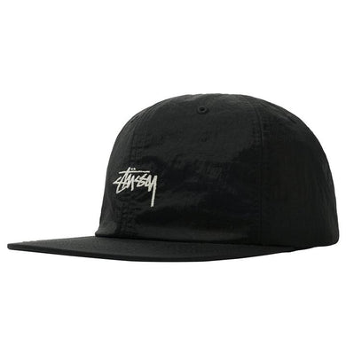 STÜSSY STOCK WASHED NYLON STRAPBACK // BLACK