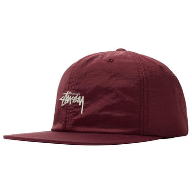 STÜSSY STOCK WASHED NYLON STRAPBACK // BURGUNDY