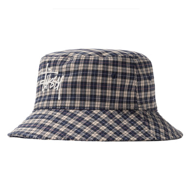 STÜSSY BASIC PLAID BUCKET HAT // OFF WHITE