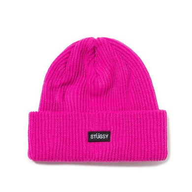 STÜSSY SMALL PATCH WATCH CAP BEANIE // PINK