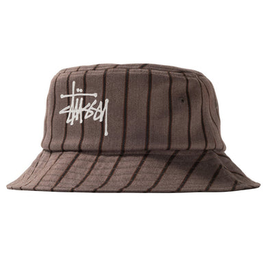 STÜSSY BIG LOGO STRIPED BUCKET HAT // BROWN