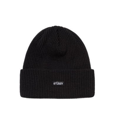 STÜSSY SMALL PATCH WATCHCAP BEANIE // BLACK
