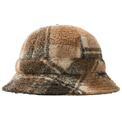 STÜSSY SHERPA FLEECE BELL BUCKET HAT // BROWN PLAID