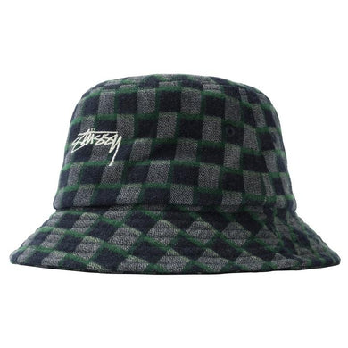 STÜSSY BRENT CHECK WOOL BUCKET HAT // GREEN
