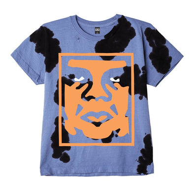 OBEY PAPER CUT HEAVYWEIGHT COW TIE DYE T-SHIRT // BLUE