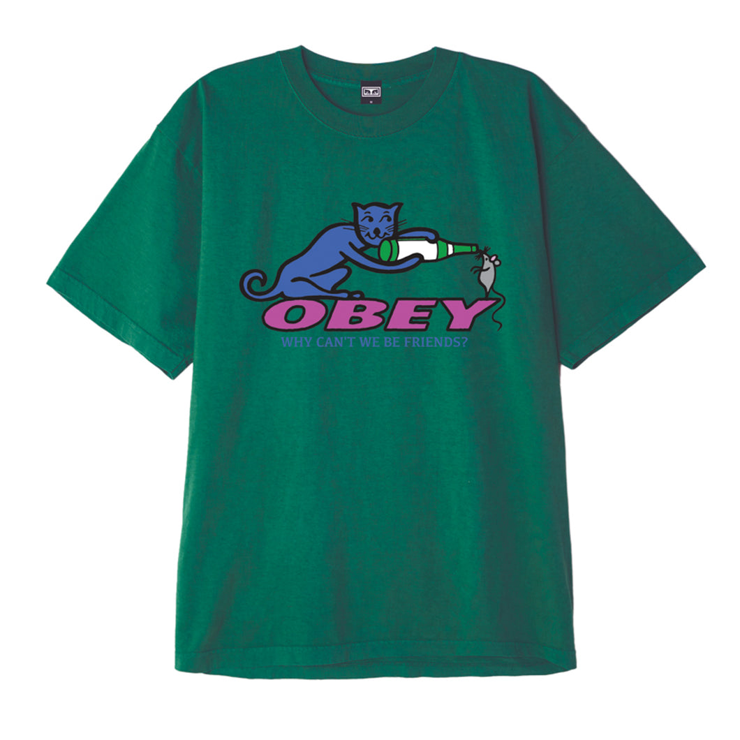 OBEY WHY CAN`T WE BE FRIENDS TEE SHIRT // BRIGHT JADE