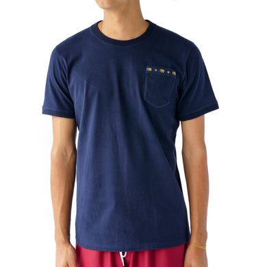 PREDUCE THAI PILLOW POCKET T-SHIRT // NAVY