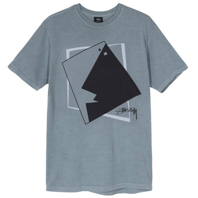 STÜSSY SQUARE FACE PIG. DYED TEE // SLATE