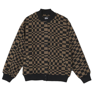 STÜSSY SABI CHECKER VARSITY JACKET // BROWN