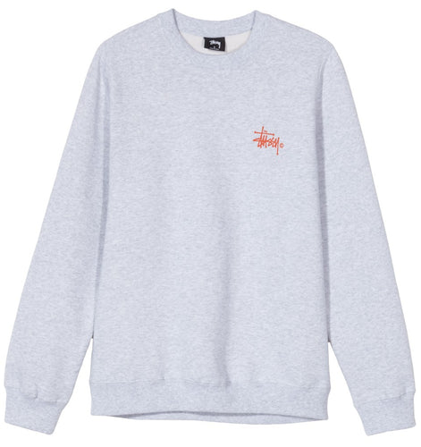 STUSSY BASIC LOGO CREW // ASH HEATHER