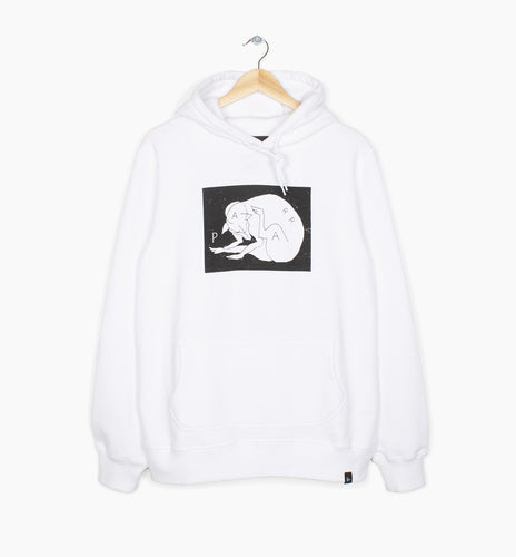 PARRA HOODED SWEATER SCRATCH DOG // WHITE
