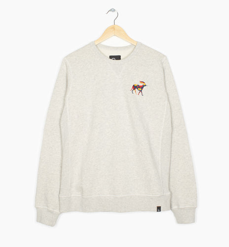 PARRA CREW NECK SWEATER RETIRED RACER // OATMEAL