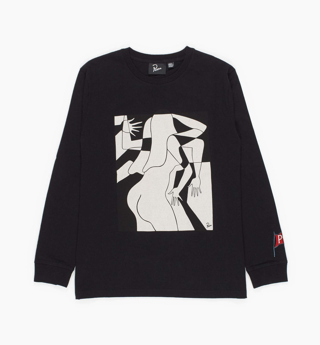 PARRA ARTIST BUSINESSWOMAN LONG SLEEVE T-SHIRT // BLACK