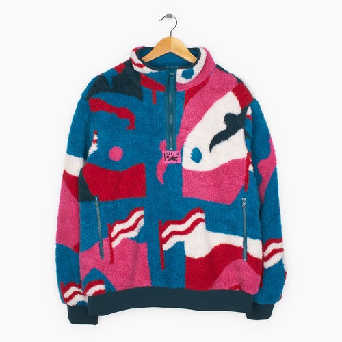 PARRA FLAG MOUNTAIN RACER SHERPA FLEECE PULLOVER // MULTICOLOR