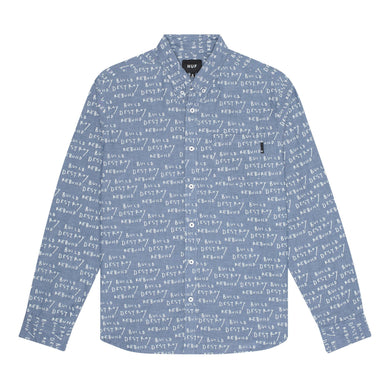 HUF BDR LONG SLEEVE CHAMBRAY SHIRT // INDIGO