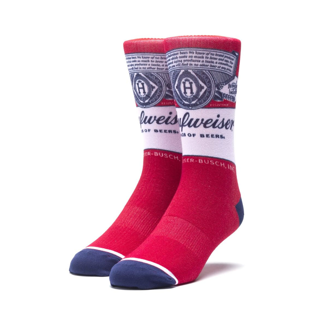 HUF X BUDWEISER THIS BUDS FOR YOU CREW SOCK // RED