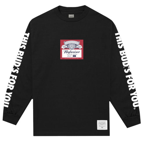 HUF X BUDWEISER LABEL LONG SLEEVE T-SHIRT // BLACK