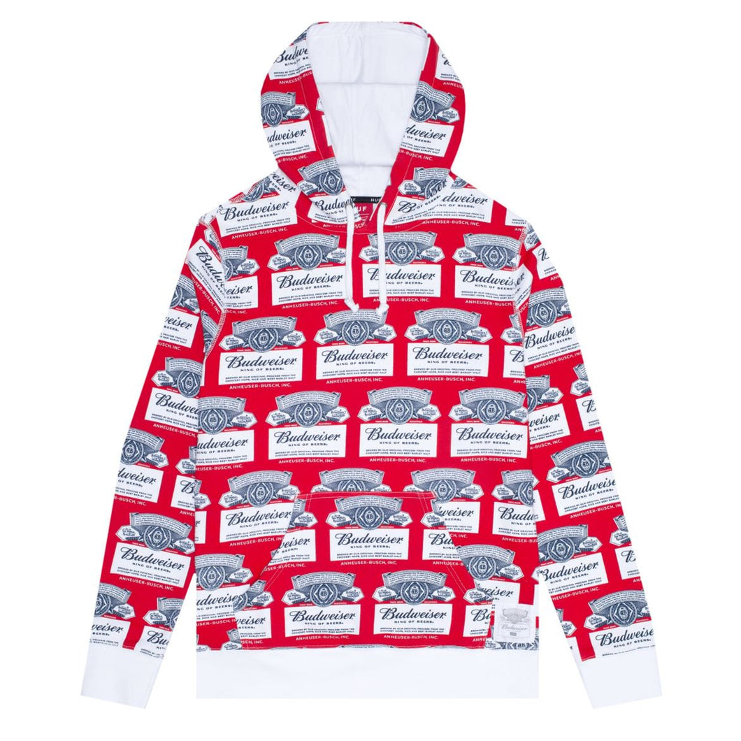 HUF X BUDWEISER LABEL PULLOVER HOODIE // RED