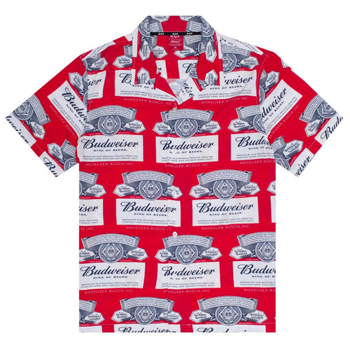 HUF X BUDWEISER LABEL BUTTON-UP SHIRT // RED