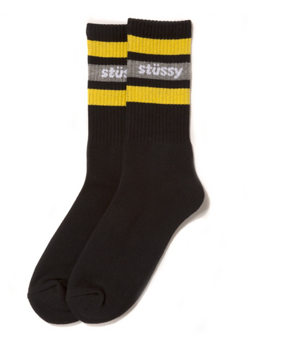 STÜSSY STRIPE CREW SOCKS // BLACK