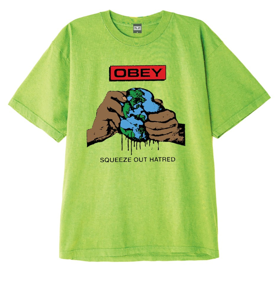 OBEY SQUEEZE OUT HATRED HEAVYWEIGHT CLASSIC BOX T-SHIRT // BRIGHT LIME