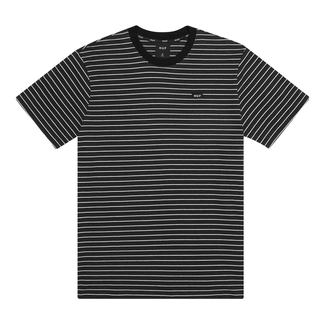 HUF DAVIS STRIPED SHORT SLEEVE KNIT TOP // BLACK