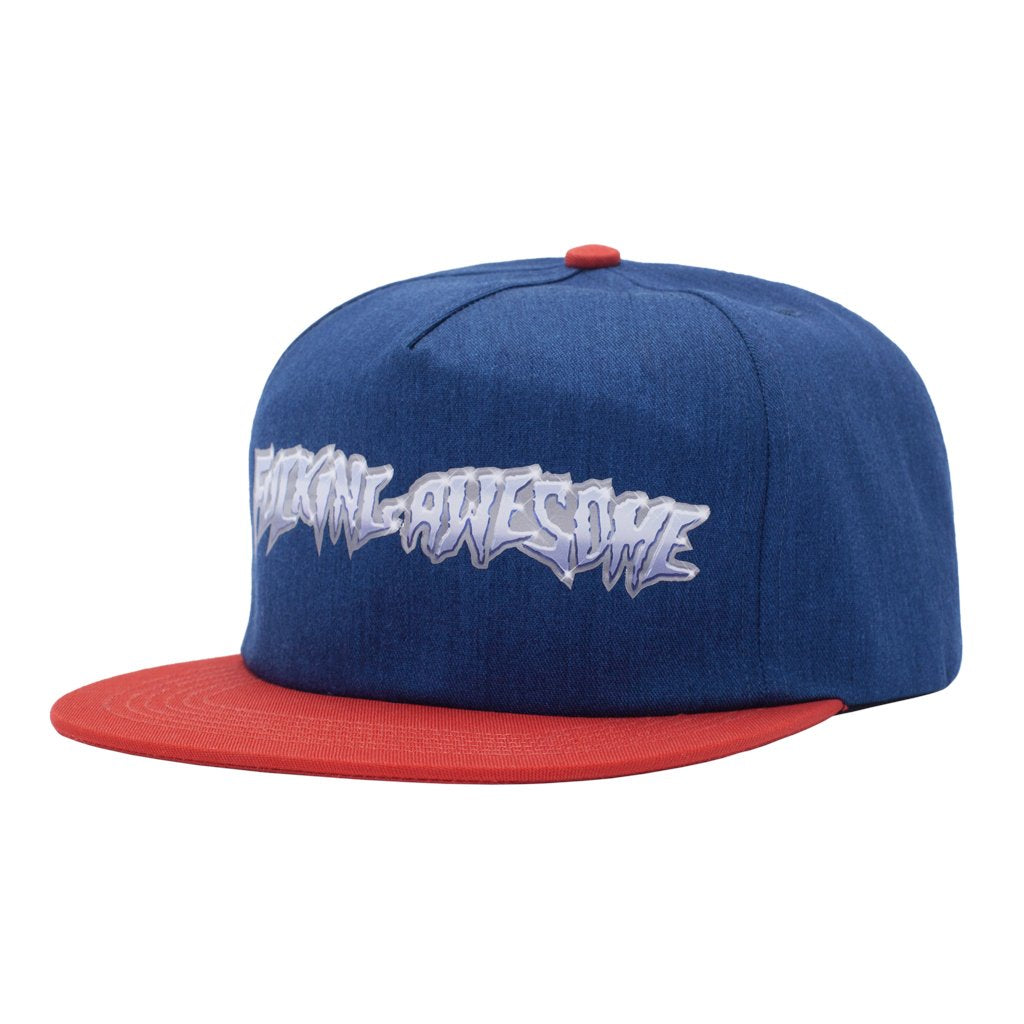 FUCKING AWESOME CHROME 5 PANEL CAP // NAVY/RED