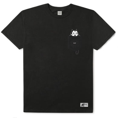 HUF X FELIX WATCHING POCKET TEE // BLACK