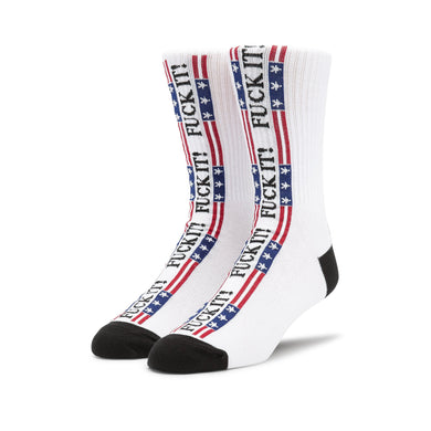 HUF FUCK IT FLAG SOCK // WHITE