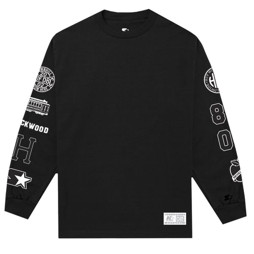 HUF X STARTER BADGES L/S TEE // BLACK