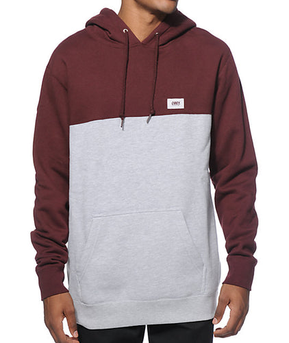 OBEY WEST PULLOVER HOOD // BURGUNDY/HEATHER GREY