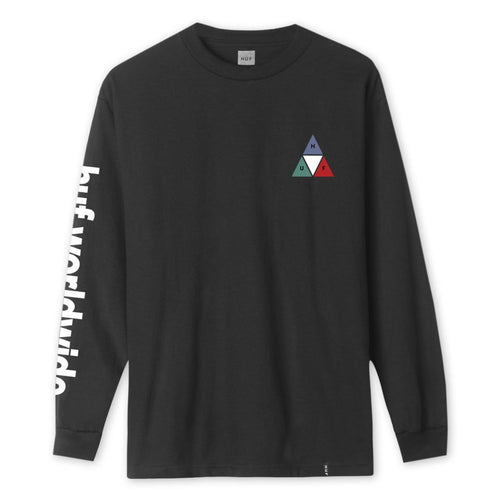 HUF PRISM TRIPLE TRIANGLE LONG SLEEVE T-SHIRT // BLACK